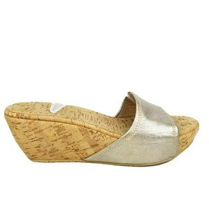 Stuart Weitzman Metallic Slide Wedge Sandals 8M